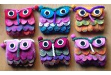 6 Pieces Felt Owl design folding purse