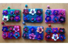 6 Pieces Felt flower design  purse