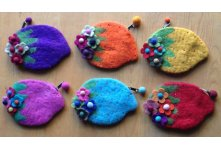 6 Pieces Felt straberry design purse