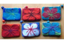 6 Pieces Felt beth flower design purse