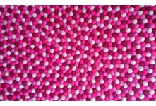 Raspberry round felt ball rug
