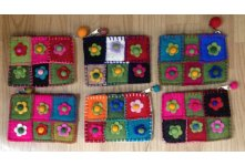 6 Pieces crochet flower purse