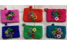 6 Pieces Felt seven flower coin purse