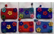 6 Pieces Felt five flower coin purse