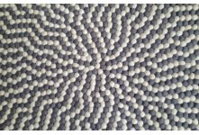 White & light grey round felt ball rug