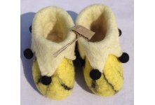 Yellow felt folding new born baby shoes