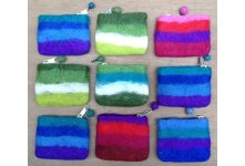 9 Pieces Felt small stripes coin purse