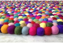 Beautiful multicolored felt ball rug