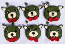 6 Pieces Cat design felt coin purse
