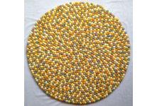 Multicolored Round Felt Ball Rug