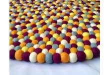 Combination of 5 color round felt ball rug