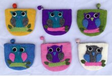 6 Pieces felt owl purse