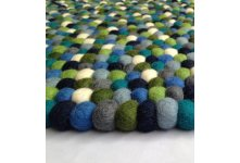 Round green multicolored felt ball rug