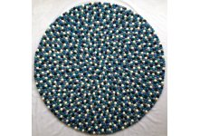 Boy's color blue round felt ball rug