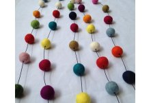 5 Pieces 200cm Multicolored Felt Ball Garland
