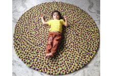 Lemon Round Felt Ball Rug