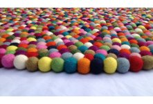 Multicolored Round Felt Ball Rug