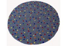 Multi dotted with grey felt ball rug