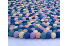Colorful felt ball rug
