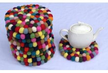 10 Pieces 20cm Felt ball trivet coaster