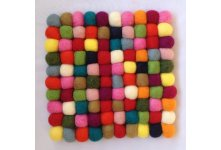 5 Pieces Multicolored 20cm square felt trivet coaster