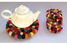 Felt round tea coaster set