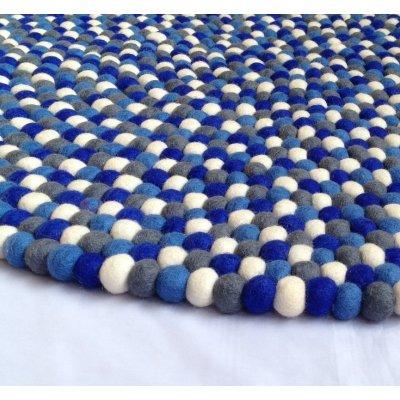 Blue Shades Felt Ball Rug