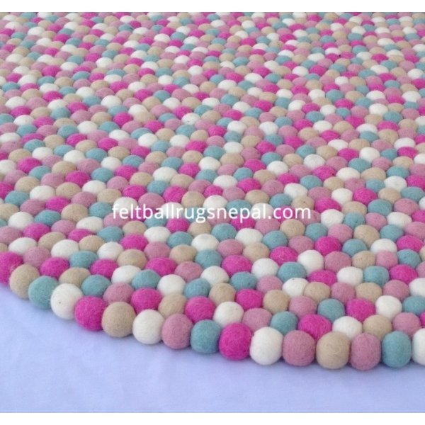 Round Crazy Pink Felt Ball Rug