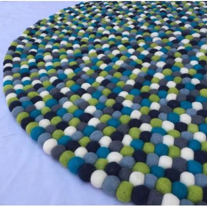 90 cm Diameter felt ball rug-carpet-handmade rug from Nepal-Genuine Nepalese