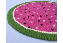 Fruity watermelon felt ball rug