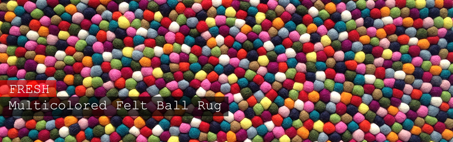 Handmade Multicolored Felt Ball Rug